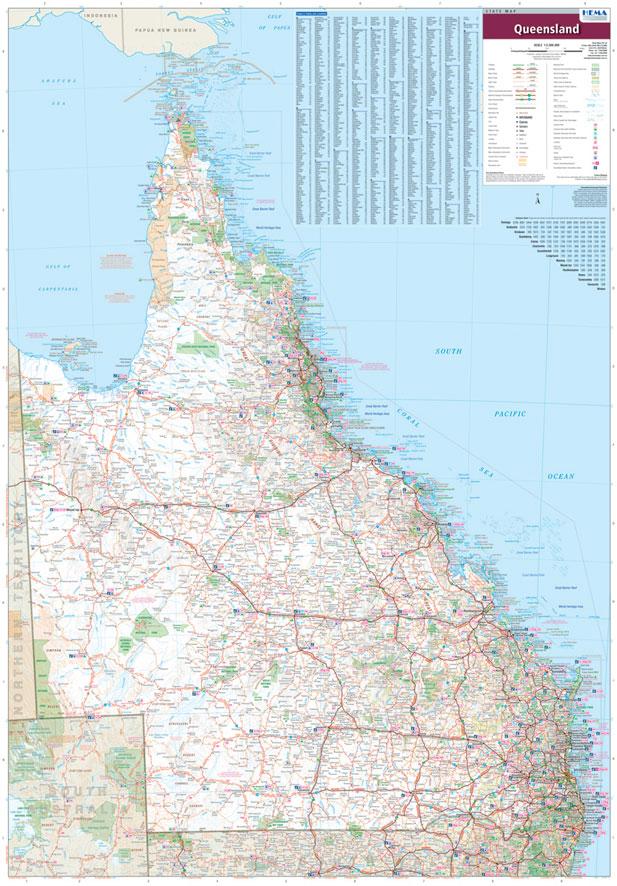 queensland hema laminated wall map